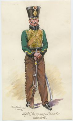 27e Chasseurs à Cheval 1808-1813 1950 Leroux, Pierre Albert (artist) One of 73 watercolors, signed by Pierre Albert Leroux. A soldier, in uniform with sword and gun, standing.