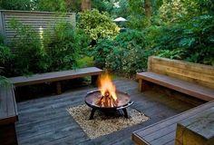 backyard landscaping ideas privacy fence wooden benches firepit wooden deck