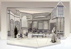 Spider's Web by Agatha Christie - drawing for set design by Richard Finkelstein