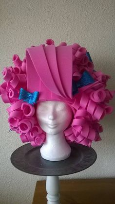 Pink Curly Foam Wig/Halloween/Theme by LadyMallemour on Etsy