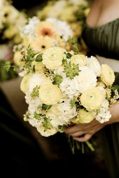 bouquet- ranunculus, stock, roses, gerbera daisies, fern/ by Soigné Productions, Tricia Fountaine Design, BB Photography