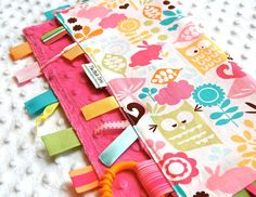 Baby Girl Blanket with Ribbon Tag  Forest Life Pink by ThePoshTots, $19.50