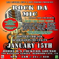 2nite 1/15 Redwood City RDV 1st #Rockdamic of 2015 feat. special Gues Dollarmentary(Brooklyn,NY), Rahman Jamaal Mc, Gabriel Risk aka Street Poetry Music, James Tha Spitta, Bennett Roth-Newell, APE City Muzik, Maq steez Cofie, Madman of RDV, Dstunts, emcee blaze, DJ Abraham and more!! Come on out Every 3rd thursday!!