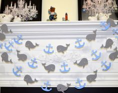 Blue and Grey Baby Shower Decoration Ideas - Whales and anchors garland, nautical theme decor, available on etsy