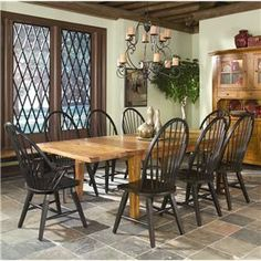 Intercon Rustic Traditions Dining Table w/4 Tapered Legs and Windsor Arm and Side Chair Set - Dinette Depot - Dining 7 (or more) Piece Set