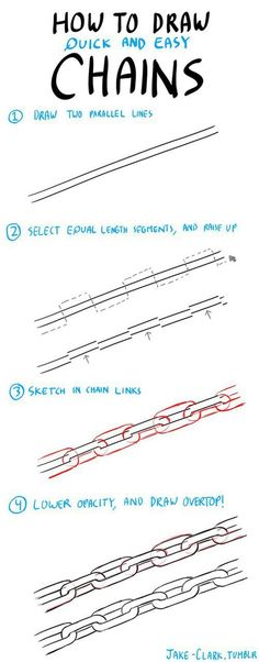 How to draw chains - Art Tips - Drawing Lessons, Drawing Techniques, Drawing Tips, Drawing Reference, Drawing Sketches, Art Drawings, Sketching, Drawing Themes, Drawing Art