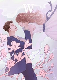 This is so adorable😍😍😍 the k-drama is : W two worlds W Two Worlds Wallpaper, World Wallpaper, Cartoon Wallpaper, Astro Wallpaper, W Two Worlds Art, Between Two Worlds, Jong Suk, Lee Jong, W Kdrama