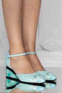 Pantofi verde mint din piele naturala cu decupaj si talpa ortopedica Casual, Green