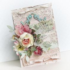 Music paper and toile flower layering - soft colors