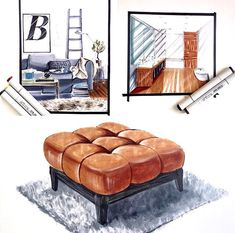 Discover recipes, home ideas, style inspiration and other ideas to try. Interior Design Renderings, Interior Rendering, Interior Sketch, Plans Architecture, Interior Architecture, Classical Architecture, Drawing Furniture, Furniture Design, Industrial Design Sketch