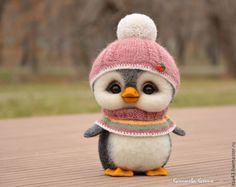 Купить Юся - тёмно-серый, пингвин, пингвины, пингвинчик, пингвинёнок, игрушка ручной работы