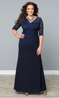 Our plus size Soiree Evening Gown features a unique touch of lace.  www.kiyonna.com  #KiyonnaPlusYou  #MadeintheUSA  #Mesh