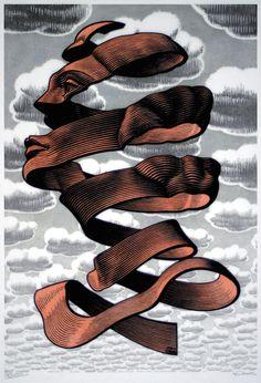 Maurits Cornelis Escher Buccia 1955 xilografia cm 34,5 x 23,5 Collezione Federico Giudiceandrea All M.C. Escher works, La mostra di Escher a Roma - Il Post