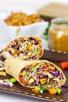 Make lunch fun again with these Thai Peanut Wraps! @flatoutbread #wraps #thaipeanut #lunch #sandwich