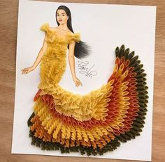 Beautiful illustration by Edgar Artis, a dress made by different Macarrones