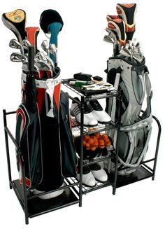 Golf Equipment Storage Rack Bags Clubs Shoes Steel Shelves Organizer Garage  Home