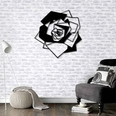 Metal Wall Art - Rose - Interior Decoration - Home Decor by BafidicaHomeDecor on Etsy