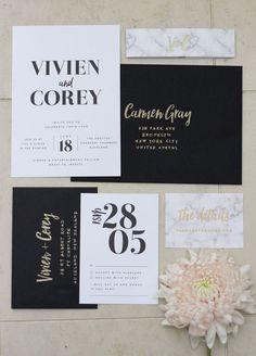 elegant black and white spring wedding invitations/ gold glittery wedding invitations/ minimalist wedding invitations/ black and white spring wedding invitations