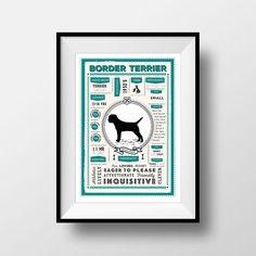 Border Terrier Dog Breed Poster Border Terrier Wall Art