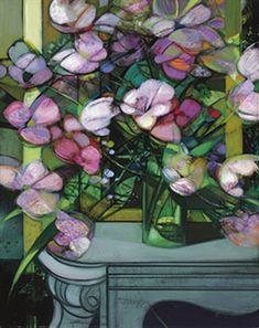Bouquet sur la cheminée, oil painting