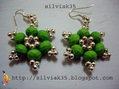 pendientes facetadas  verdes
