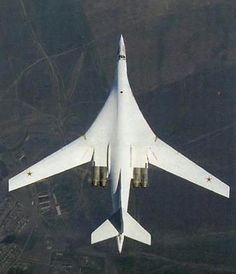 The Tupolev Tu-160 - supersonic, variable-sweep wing heavy strategic bomber designed in the Soviet Union. Tu-160 is currently the world's largest combat aircraft, largest supersonic aircraft, and largest variable-sweep aircraft built. In addition, the Tu-160 has the heaviest takeoff weight of any military aircraft besides transports.