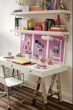 pink note board; jonathan adler channing desk; girls worspace by Amanda Nisbet
