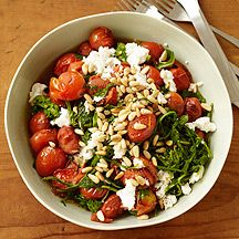 Sautéed Arugula and Tomatoes with Cheese and Pine Nuts weight watcher 3 pp