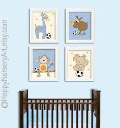 Soccer ball nursery art safari animals elephant by HappyNurseryArt, $42.00