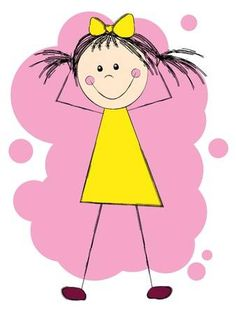 Illustration of Funny girl in yellow dress vector art, clipart and stock vectors. Drawing Lessons For Kids, Art Drawings For Kids, Doodle Drawings, Easy Drawings, Art For Kids, Stick Figure Drawing, Doodle Girl, School Coloring Pages, Stick Art