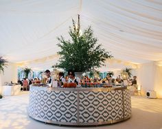 Albion Parties came up with an idea to wrap the bar in ikat fabric and to make cushions in the same fabric. The tree in the center of the bar gave it height and made it a focal feature in the marquee. Unique Weddings, Real Weddings, Growing Roses, Round Bar, Marquee Wedding, Bar Drinks, Event Decor, Perfect Wedding, Wedding Inspiration