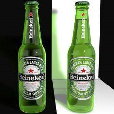 Modelagem das garrafas em 3D. Cliente: BIG (Londres). Projeto: Apresentação Heineken.
