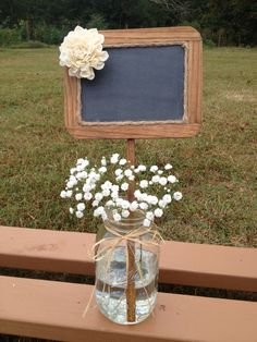 Rustic Wedding Chalkboard Sign - Rustic Wedding Decor - Wedding Table Number…