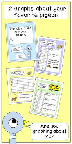 This packet includes 2 graphs for each of the first six Pigeon books. You can complete them as a whole class, and then add the title page (included) and bind them to make a class book your students will love to revisit - while reviewing graphing skills too! Student tested and approved by Paula's Preschool and Kindergarten.