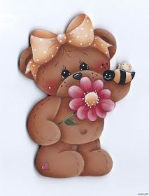*Teddy Bear with Flower & Bee! Tole Painting, Fabric Painting, Painting On Wood, Painting & Drawing, Bear Clipart, Cute Clipart, Arts And Crafts, Paper Crafts, Country Paintings