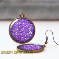 Purple Glitter Earrings 25 mm 1 Inch Round Dangle Statement Earrings Bohemian Resin Jewelry Bridesmaid gift 5016-S18 by StudioDbronze