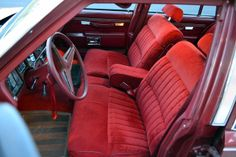 The Bonneville models came with this more-restrained rendering of the velour bench seat, standard; this color was called 'Carmine' (no, really). Pontiac Bonneville, Bench Seat, Car Seats, Kid, Models, Color, Child, Templates, Colour