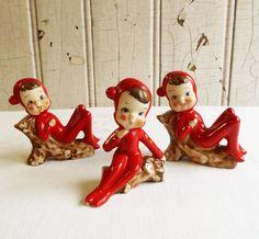 Three Pixies Elves or Children Sitting on Logs  by KitschyVintage, $40.00