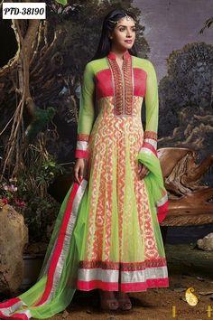 Beautiful Light Green and Light Red chiffon anarkali salwar suit