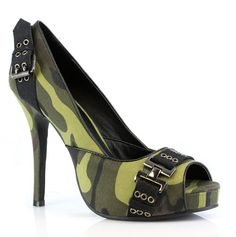 """Women's 4"""" Heel Open Toe PFC Pump by Ellie. Sexy Camouflage Military Style Shoe."""