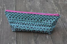 Turquoise Black Geometric Print Canvas Linen Toiletry Bag/Pencil Case/Cosmetic Pouch/Washbag - Christmas Gift, Birthday Gift by BargamotCo on Etsy