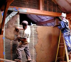 what about the interior walls? I love this often overlooked method of wattle & daub, as shown in this photo from http://casedinbalotidepaie.ro/. It is one of the oldest building techniques, using any small, but strong, woven lattice with a clay, sand, straw mixture (similar to cob) pressed on top. The clay mixture pushes through all of the nooks & crannies, creating a great bond to the lattice, and a very strong, thin, and natural interior wall system.