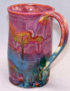 A Ceramic Mug Pink Marine Sunset Coffee Mug by LoJoCeramics