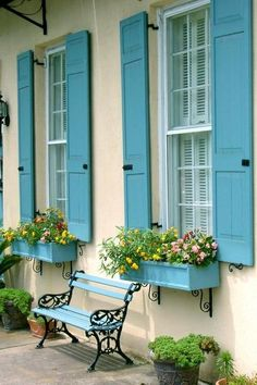 Best exterior house colors with shutters curb appeal ideas Exterior Paint Colors For House, Paint Colors For Home, Exterior Colors, Paint Colours, House Shutter Colors, Yellow House Exterior, Window Shutters Exterior, Blue Shutters, Modern Shutters
