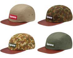 Supreme Camp Cap - Camo Leather + Herringbone Leather be8f23a8bc50