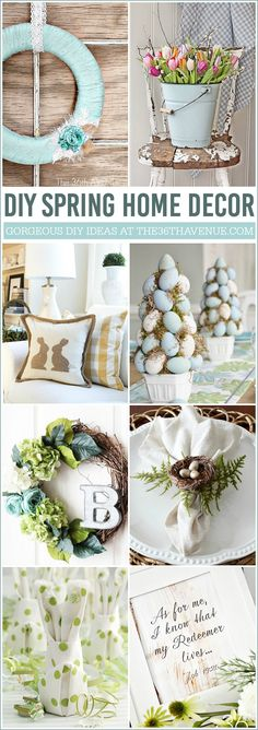 DIY Easter Home Decor Ideas - Beautiful Spring Home Decor that you can make at home. These DIY decorations will inspire you to kick the winter blues away!