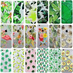 Ownest cactus plantas hojas de plátano case de silicona suave para el iphone 7 7 Plus 5 5S SE 6 6 s Teléfono de La Contraportada de TPU Clara Transparente