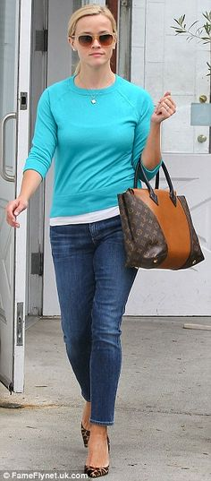 The work-outs have been paying off! The actress showed her lean legs in a pair of skinny denim trousers