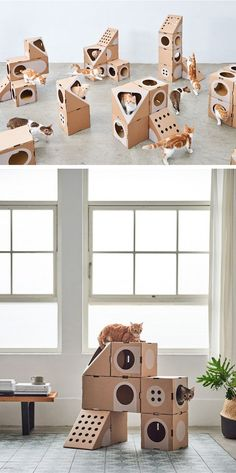Tawain-based company A Cat Thing has created modular cardboard cat furniture that can be configured in many different ways. #CatFurniture