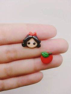 Princess Snow White Inspired Stud Earrings - Polymer clay Charm, Disney Earrings, Polymer Clay Earrings, Disney Charm